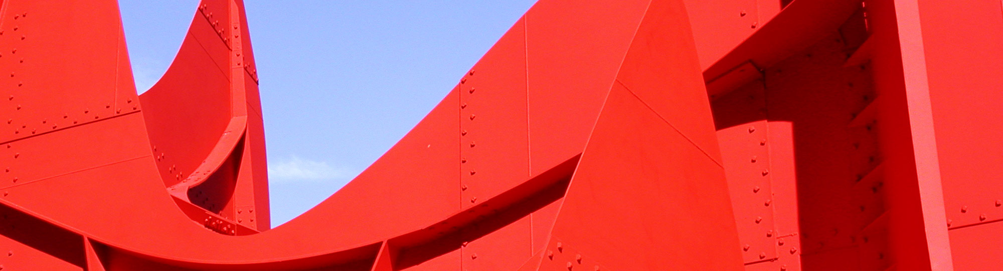 view of part of 'La Grande Vitesse' sculpture by Alexander Calder